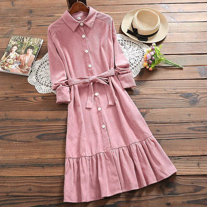 森ガール春秋の女性甘いドレスターンダウン襟ピンク特大シャツドレスエレガントなコーデュロイフリルサッシロングドレス