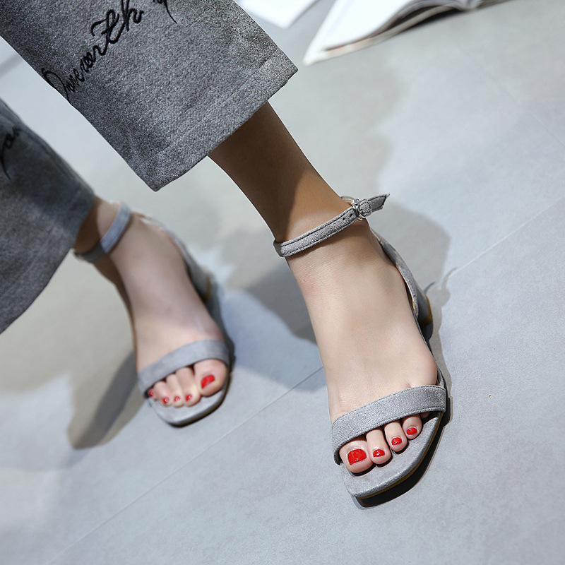 SC6306 frauen schuhe quadratischen kopf offene spitze studenten sandalen