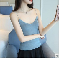 2017 New Arrival Women Knitted Tank Tops Female Crop Top Vest Girl V Neck Tank Tops