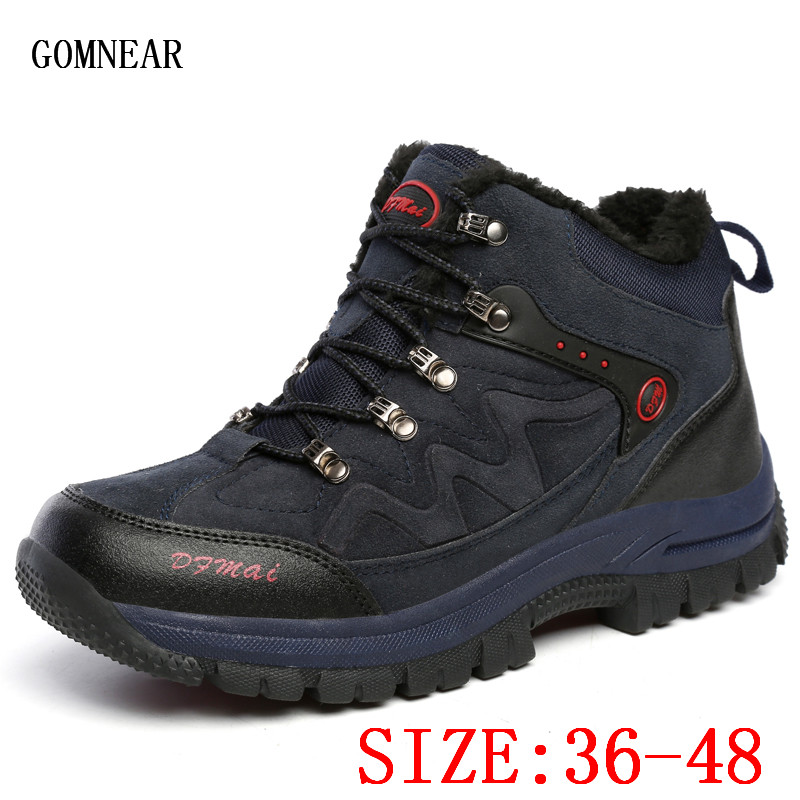 GOMNEAR Winter Big Size Men's And Women's Warm Hiking Shoes Outdoor Hunting Climbing Shoes Trend Trekking Mountain Hiking Boots gomnear winter men s hiking boots outdoor climbing toutism hunting athletic boot trend trekking warm velvet sport shoes for male