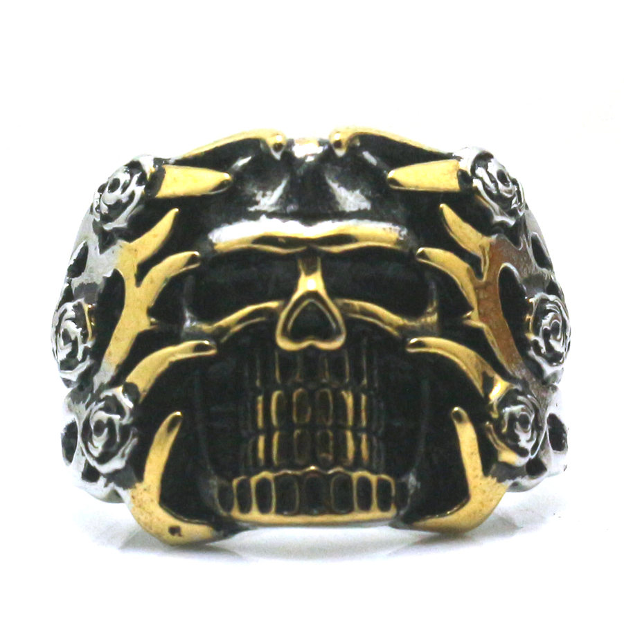 Mens Boys 316L Stainless Steel Ferocious Expression&Flower Skull Ring Newest