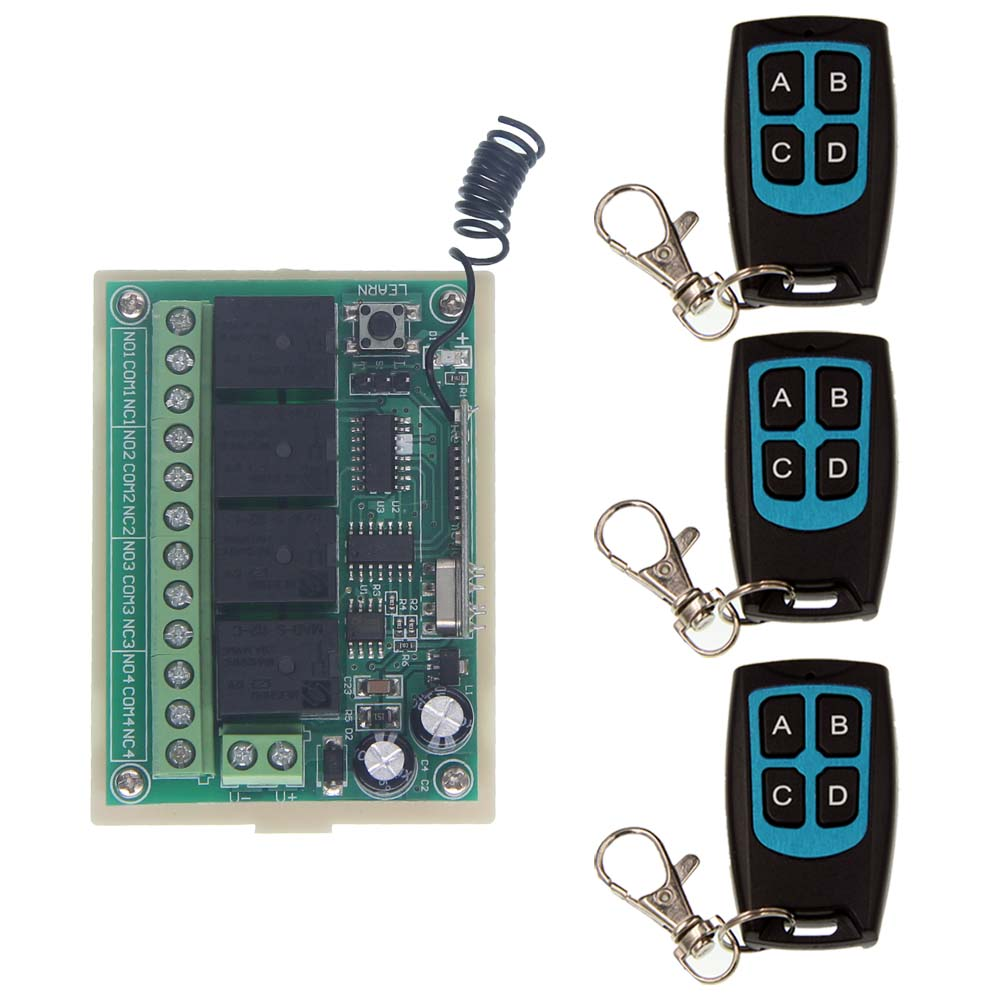 DC 12V 4 CH 4CH RF Wireless Remote Control Switch System,Waterproof Transmitter + Receiver,315/433 MHz,Jog,Toggle