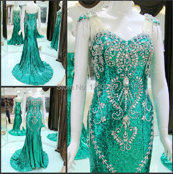 Real Photo Luxury Crystal Beading Sexy Mermaid Long Prom 2018 Vestido De Festa Custom Evening Gown Mother Of The Bride Dresses