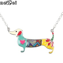 Newei Statement Metal Alloy Enamel Dachshund Dog Choker Necklace Chain Collar Pendant 2016 Fashion New Jewelry
