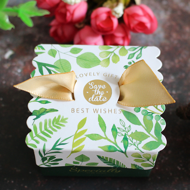 10pcs Ribbon Bronzing gift box Small paper Candy Bag wedding gift box thank you box birthday gift box cookie bag merci Favor Bag