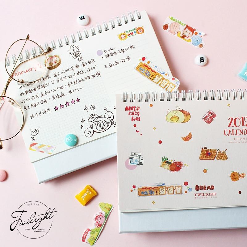2019 Kawaii Cartoon Reise Schreibtisch Kalender Diy Tisch Kalender Täglichen Zeitplan Planer 2018,09 ~ 2019,12 Office & School Supplies