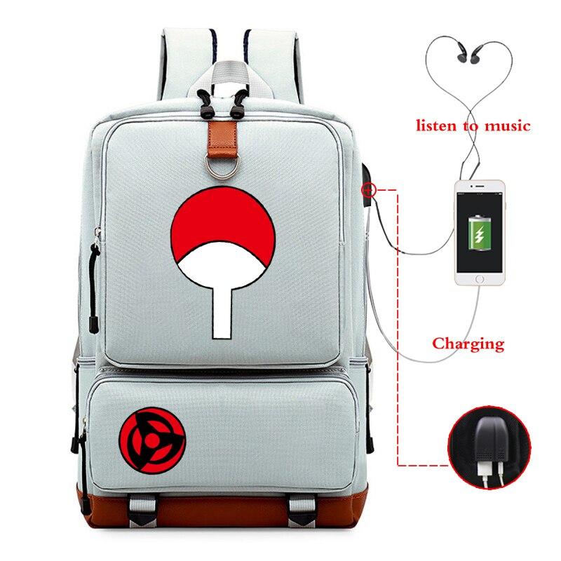 NARUTO Backpacks Anime Laptop Bag USB Charging Backpack Unisex School Shoulder Bag Sac A Dos Travel Bagpack for College Bookbag