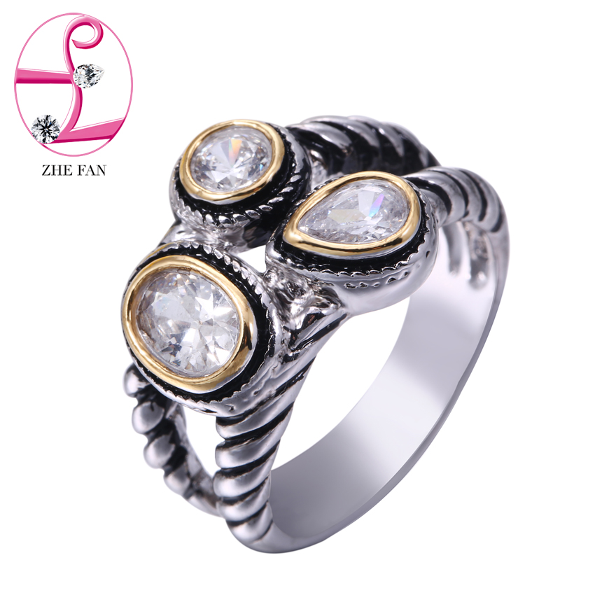 ZHE FAN AAA Cubic Zircon Ring Men Women 3 Tone Plating Jewelry Party  Valentines Day Gift Vintage Black Gold Color Twist Rings