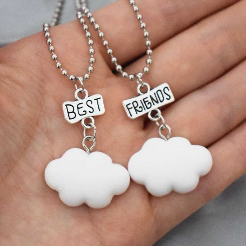 Children Best Friend Necklace Simulation White Clouds Pendant Friendship BFF 2 Necklace Jewelry Gifts For Kids 2PCS/Set