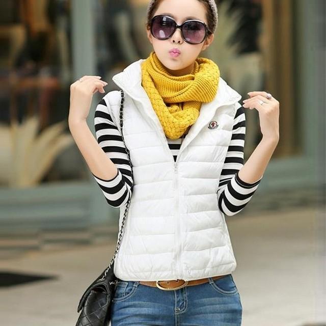 New Women Autumn nter Vest Waistcoat Sleeveless Jacket Hooded Down Cotton Warm Vest Female