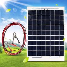 High Efficiency Polycrystalline Energy Solar Panel Battery Module 10W 12V + Alligator Clips For Solar Panel Emergency Light цена 2017