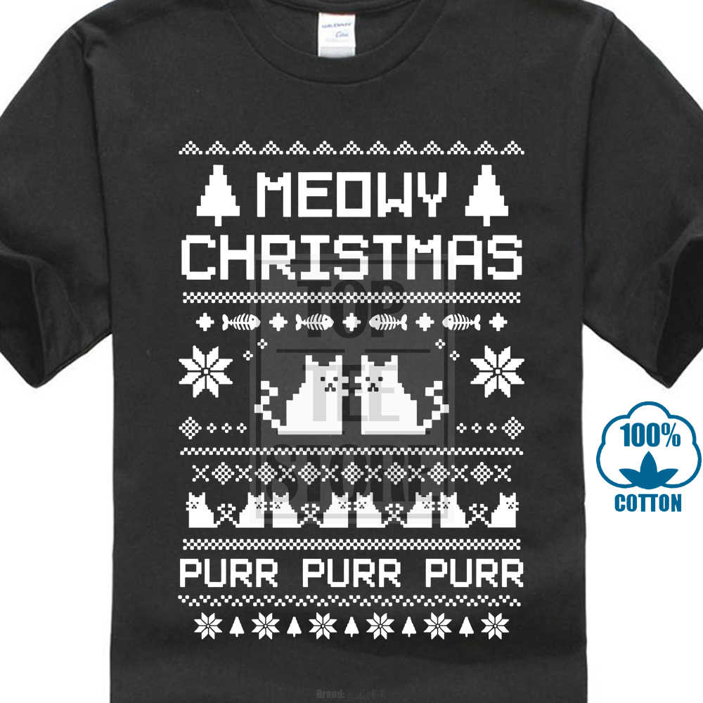 5a35ba860 Meowy Christmas Ugly Sweater T Shirt Funny Tee Cat Lovers Xmas Holiday Gift