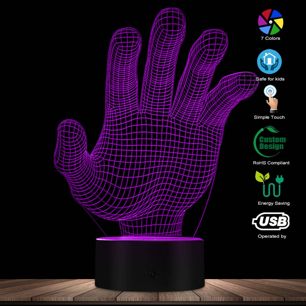 3D Hologram Optical Illusion Palm Table Light Colors Changing Acrylic Night Lamp LED Lights Atmosphere Palmar Sign USB Lamp