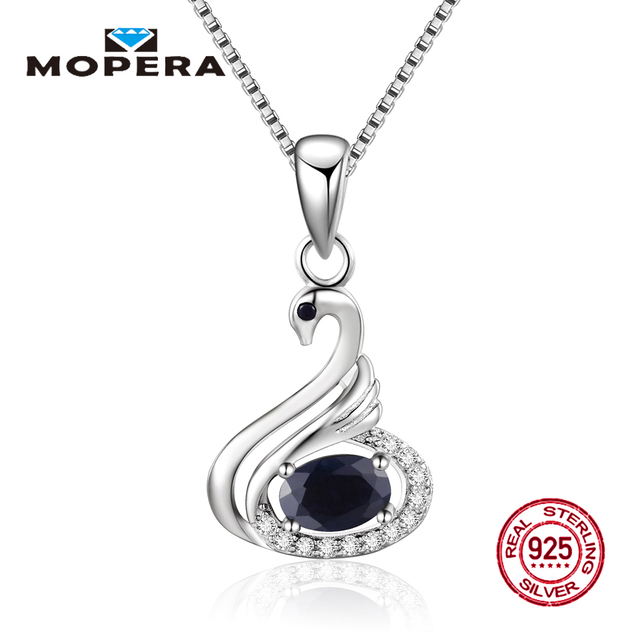 Swan Necklace ALP Mopera Silver 925 Fine Jewelry Necklace Elegant Animal Swan Pendant With  Chain Natural black Sapphire For Women Pendant Necklace