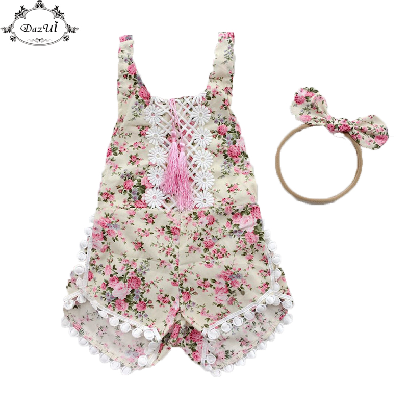 Baby Girl Clothes Floral Tassel Girls Romper Nylon Bow Headband Girls Outfit Lace Trim Newborn Jumpsuit Summer Baby Clothes Set newborn infant baby girl clothes strap lace floral romper jumpsuit outfit summer cotton backless one pieces outfit baby onesie