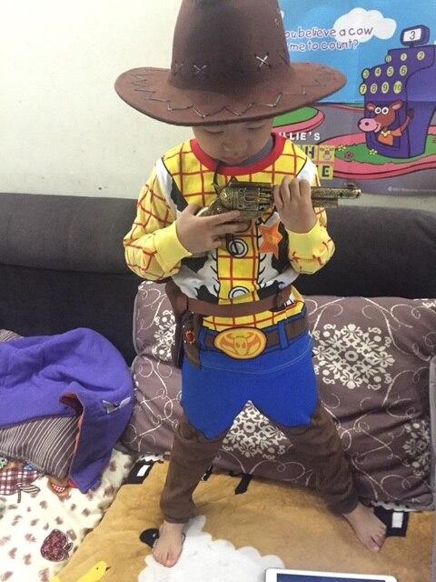 Woody traje chico Woody papel jugar al vaquero traje vestido de fantasía  Cosplay ropa sombrero de 9e111d1b114