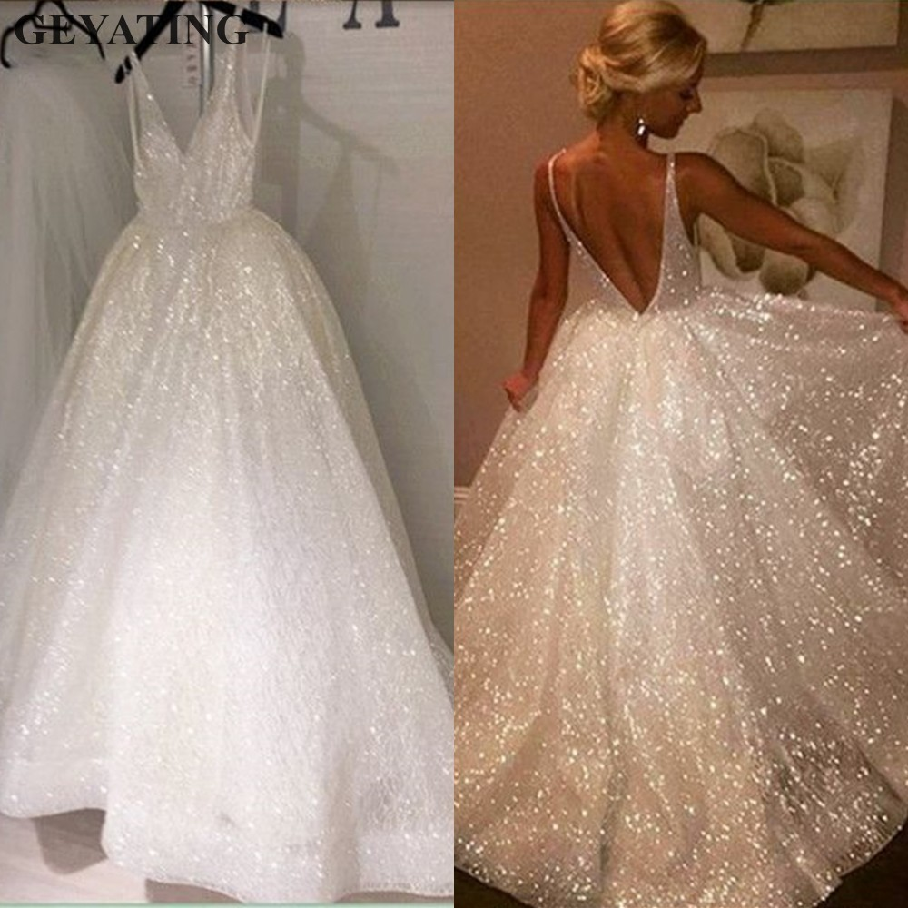 Bling Sequins Arabic   Evening     Dress   2019 Sexy V-Neck Spaghetti Strap Backless Long Dubai Prom   Dresses   Women Formal Party Gowns