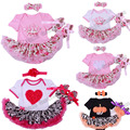 2017 conjuntos de roupas de bebê menina infantil 3 pcs floral princesa romper dress/jumpersuit + cabeça + sapatos bebe aniversário trajes do partido
