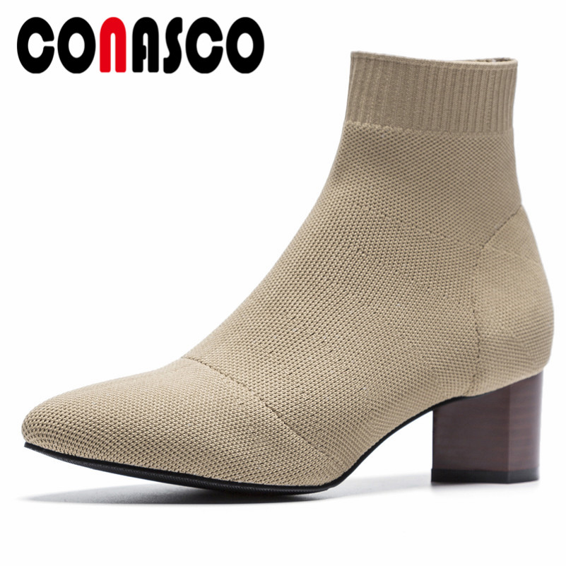 Mujer Marca Tacón Punta Conciso Extraño Invierno Diseño Calidad Otoño Cortas Tobillo Casual Para Botas negro 1 Zapatos Cálido Redonda De Conasco AnzE4q0I