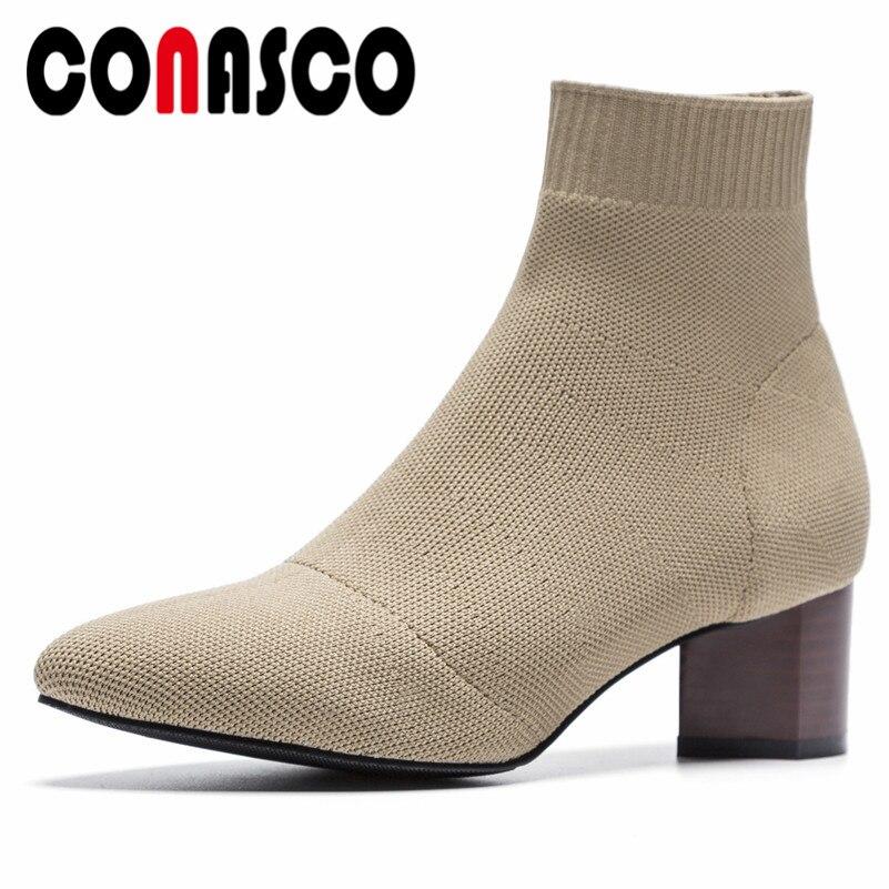 1 Concise Hiver Bottes Chaussures Femmes Marque noir Conception Rond Étranges Automne Bout Talons Chaud Conasco Qualité Casual Cheville Court Femme n0ONk8PXw