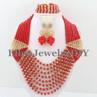 2019 Red golden African Beads Jewelry Set for Nigerian wedding bridal dubai Crystal Beads women statement Necklace Set W7765