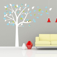 New Owl Standing Huge White Tree Wall Sticker Baby Nursery Bedroom Wall Art Decor Owl And Birds Decals Size 197 x 222 cm