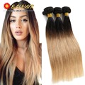 8A Brazilian Virgin Hair Stright Weave 3pcs Ombre Brazilian Hair Bundles Blonde 1b 27 Straight Wave Ombre Human Hair