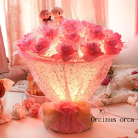Modern romantic flower table lamp valentine gift wedding gift bedroom bedside lamp creative pink roses table lamp
