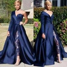Скромные синие комбинезоны, платья для выпускного вечера, съемная юбка, два предмета, вечернее платье, на одно плечо, с разрезом сбоку, брючный костюм знаменитостей