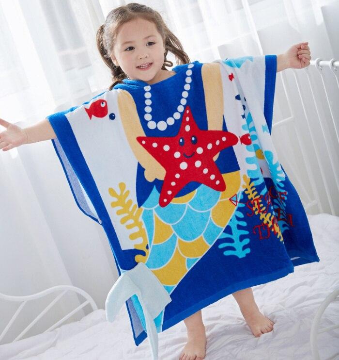 Качественное голубое детское полотенце принцессы с капюшоном и принтом «Звезда океана», банный халат принцессы розового цвета с лягушкой для младенцев и малышей - Цвет: submarine
