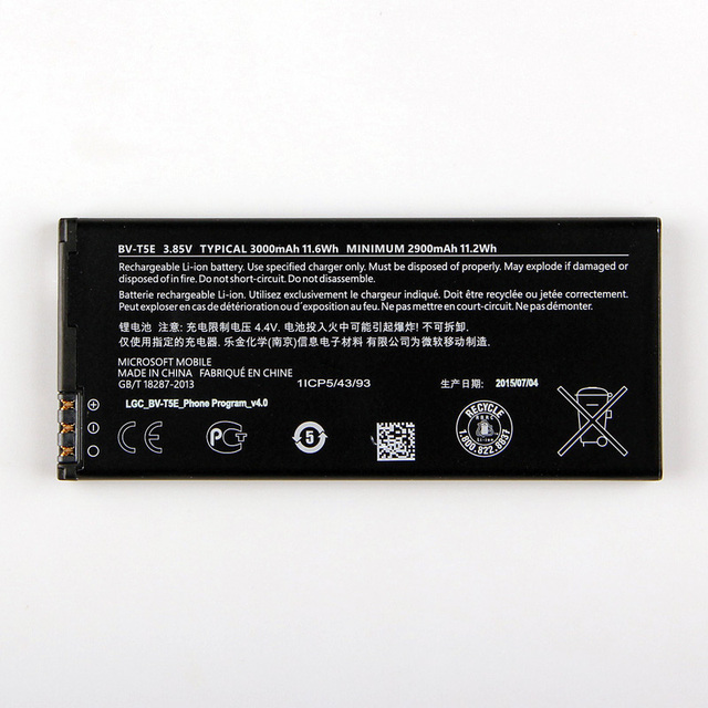 100% New Original Replacement Mobile Phone Battery BV-T5E For Microsoft Lumia 950 RM-1106 RM-1104 RM-110 McLa BVT5E 3000mAh