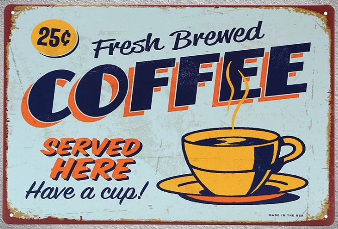 1 pc Brewed fresh coffee served here Tin Plate Sign plate wall plaques man cave Decoration Art Dropshipping Poster metal in Plaques Signs from Home Garden