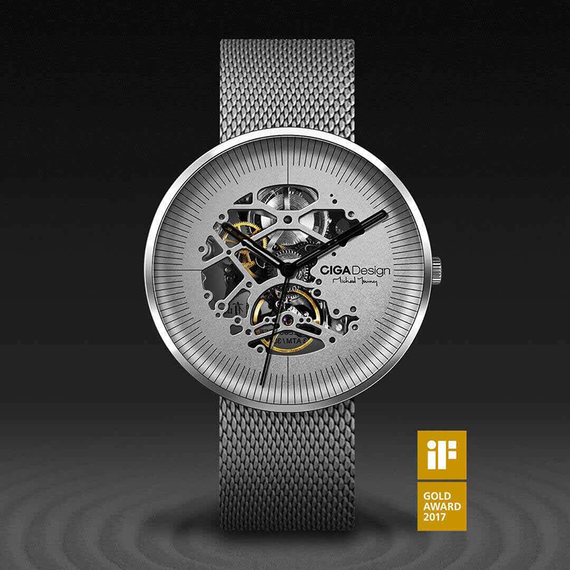 MY Series Watch Xiaomi CIGA Hollowed-out Design Anti-Seismic Mechanical Watch With Metal Strap and Complimentary Leather Strap