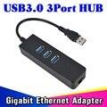Alta Velocidade de 3 Portas USB 3.0 Hub 10/100/1000 Mbps Para RJ45 Gigabit Ethernet LAN Com Fio Adaptador de Rede Converter Para Windows Mac