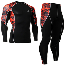 High Quality Running Set spring Gym Training Basketball sets Fitness Clothes Men Track Running Shirt + Compression tights