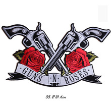 Rose Gun punk patches for clothing 3D roses embroidered Patch DIY iron on Embroidery flowers applique for bags jeans jackets