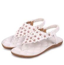 2016 d'été étudiant contracté plat string sandales femme Bohême fleurs avec antidérapant chaussures de plage