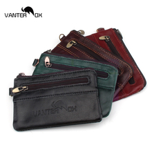 VANTER OX Vintage Men And Women Genuine Leather Mini Coin Purse Card Case Holder Wallet Clutch Zipper Small Change Bag Purse цена и фото