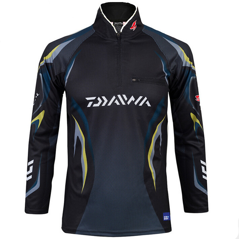 2 colors new style daiwa men fishing clothes uv protection for Moisture wicking fishing shirts