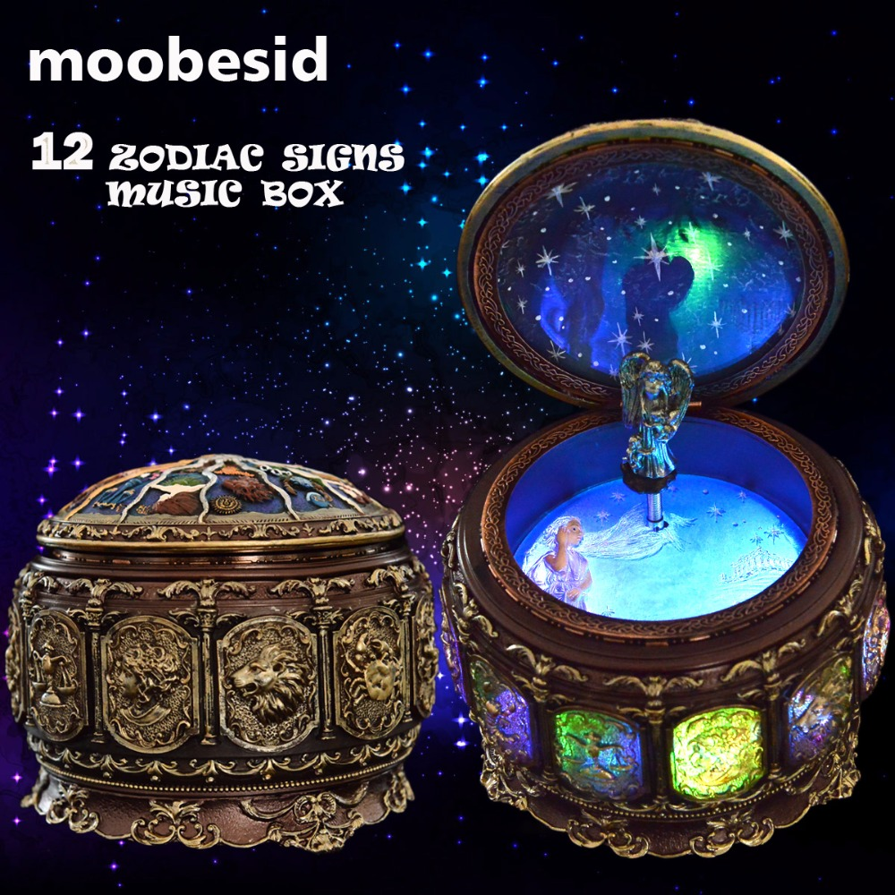 Retro Zodiac 12 Signs Music Box Manual Arts 12 Constellation Musical Boxes with Led Flash Lights Valentines Day Birthday Gift