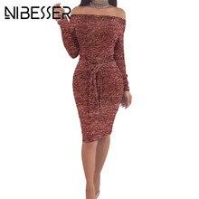 NIBESSER Spring Autumn Dress 2018 Clothing Fashion Sexy Party Off Shoulder tunic Long Sleeve Sheath Bodycon Women Midi Dresses