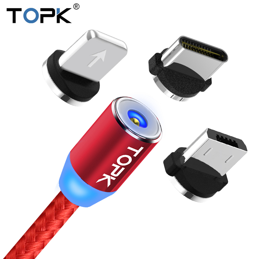 TOPK R-Line2 1M & 2M LED Magnetic Cable & Micro USB Cable & USB Type C Cable Nylon Braided Type-C Magnet Charger Cable USB-C