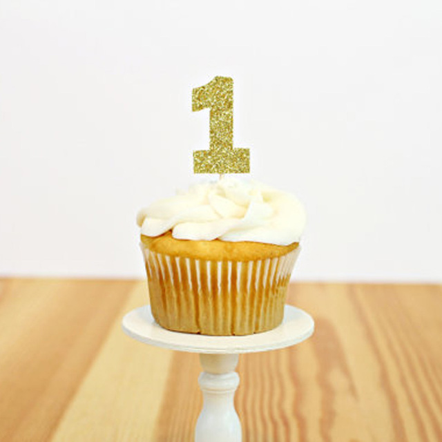 Number 1 Cupcake Toppers, First Birthday cupcake toppers, Glitter