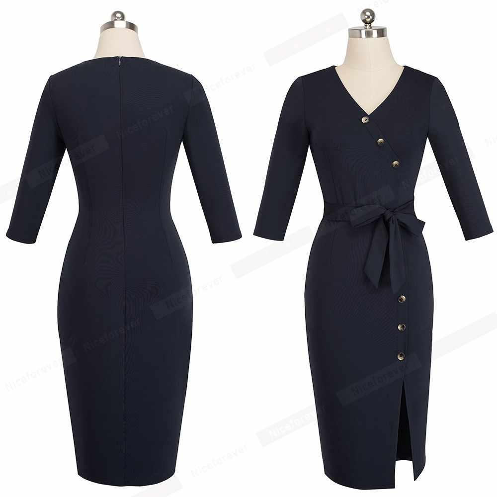 Женское элегантное облегающее офисное платье, сексуальное платье миди с разрезом спереди, платье в деловом стиле HB464