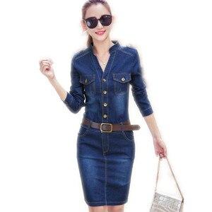 2019 moda w stylu linii kobiety na co dzień Denim sukienka w stylu Vintage Jeans sukienki z długim rękawem niebieski nowy kobiety wiosna Mini dekolt w serek DressCQ927