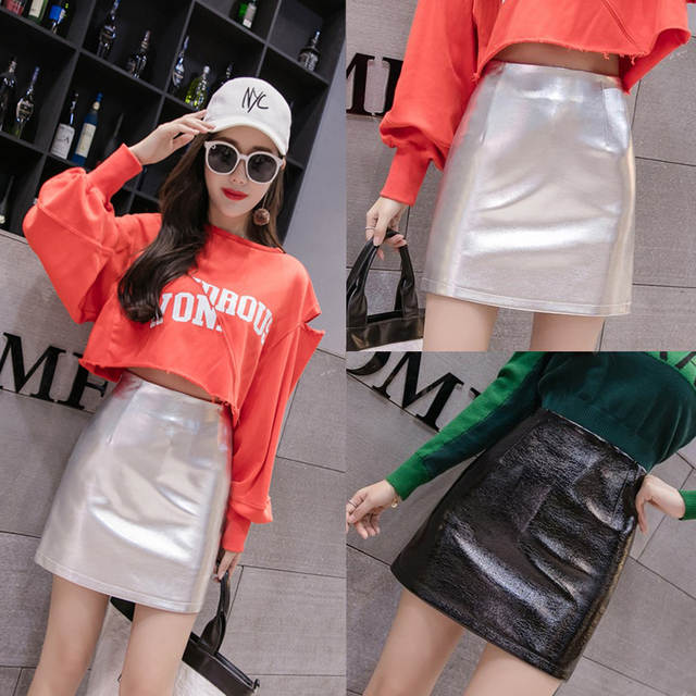 7a3f8b6b8 US $13.6 30% OFF|High Waist Leather Skirts Women Sexy A Line Bright PU  Pencil Skirt Casual Short Black Silver Skirt Female Hip Package Mini  Jupe-in ...