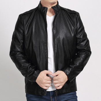 2018 Autumn and Winter clothing New Men's Large size collar  sheep Leather jacket Men's Motorcycle Casual PU jacket