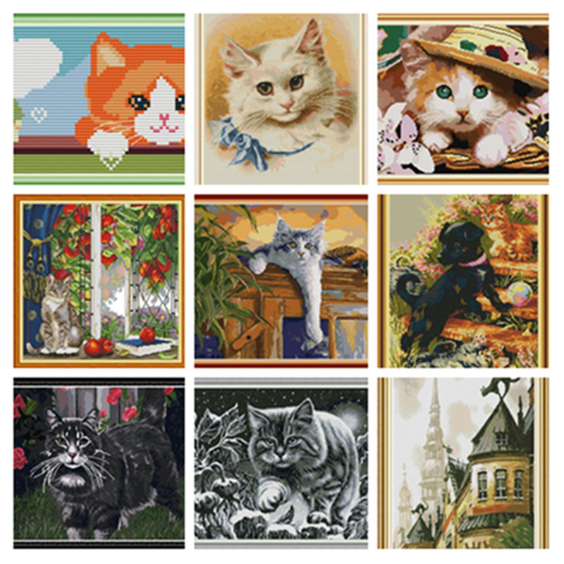 Cat Cross Stitch Kits Embroidery Needlework Sets Animal Plastic Canvas Cross Stitch Package Cross-Stitch Woif Embroidery Hafty