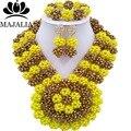 2017 Мода Нигерии Свадьба африканские бусы комплект ювелирных изделий желтый Кристалл ожерелье браслет серьги Бесплатная доставка VV-116