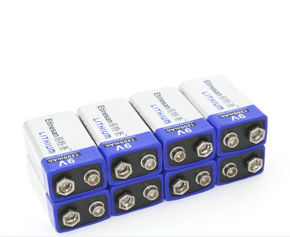 Powerful 8pcs/lot 1200mAh ETINESAN 9v Li Batteries 9V Li-ion Lithium Battery Ultra Long Life USE for Smoke Alarms